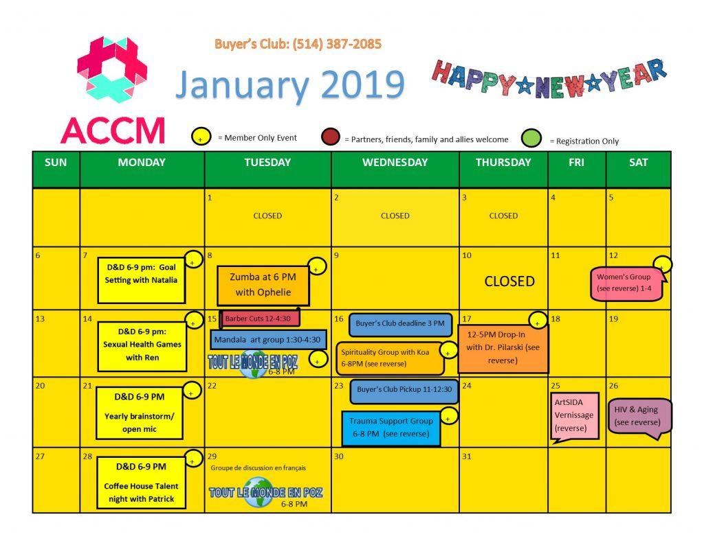 January Calendar Side 1