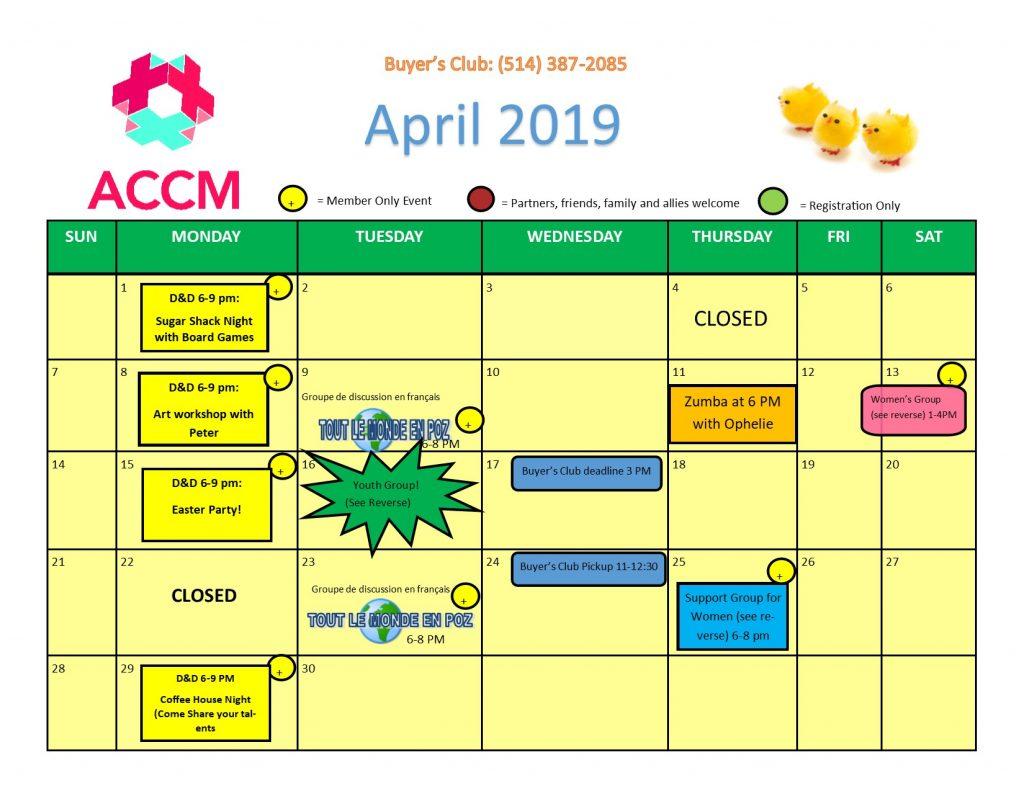 April Calendar Side 1